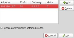 Setting up a route to our VPN addresses.